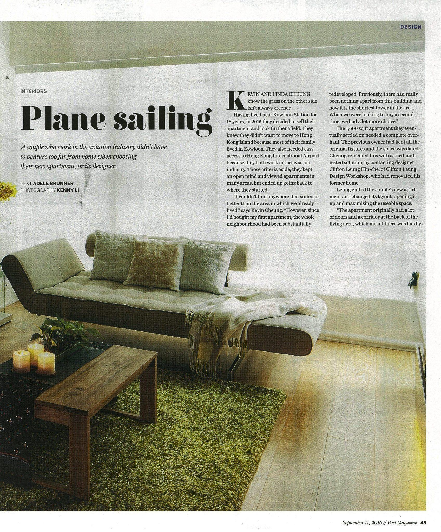 Plane Sailing | SCMP Post Magazine | Sept 2016